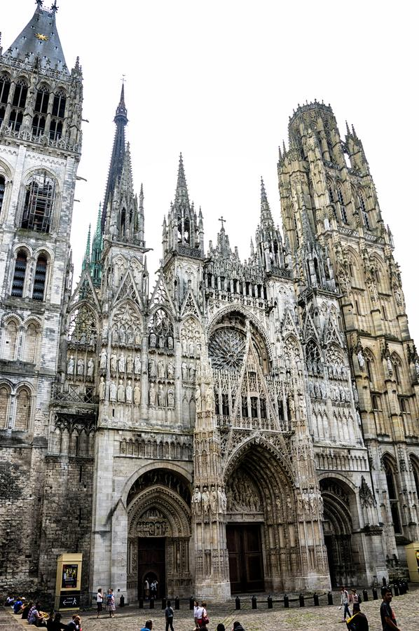 View from the square to the Rouen Cathedral stock photography
