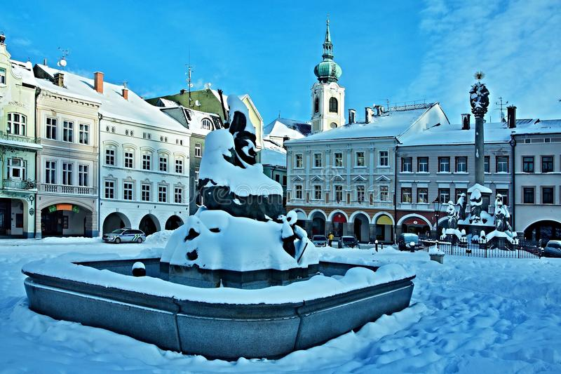 Czech Republic-square in city Trutnov in winter. View on the square in winter in city Trutnov in Czech Republic royalty free stock photography