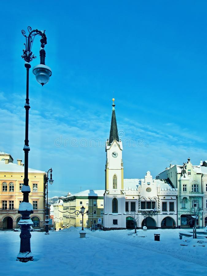 Czech Republic-square in city Trutnov in winter. View on the square in winter in city Trutnov in Czech Republic royalty free stock image