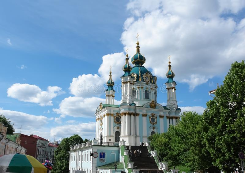 View of the St. Andrew's Church in Kiev in the summer day royalty free stock photography