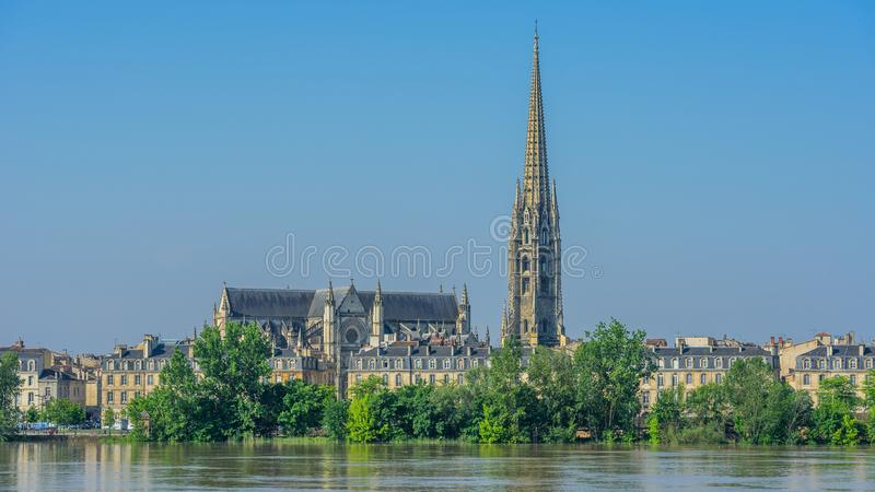 View of St. Andrew`s Cathedral, Bordeaux, France. Copy space for text.  stock photo