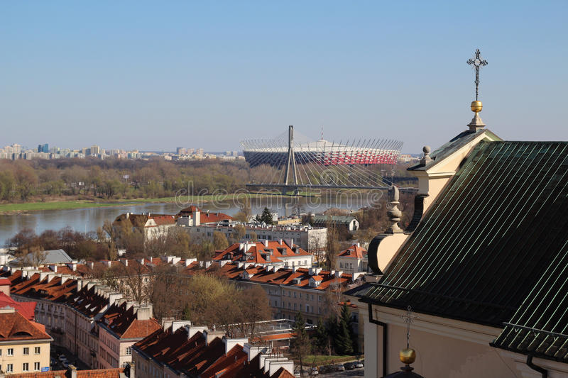 View from St. Anna church bell tower, Warsaw, Poland stock photo