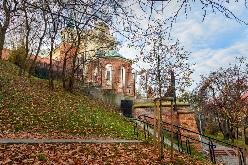 View of St. Anne`s Church in Warsaw. Poland. View of St. Anne`s Church in autumn. Warsaw. Poland stock image