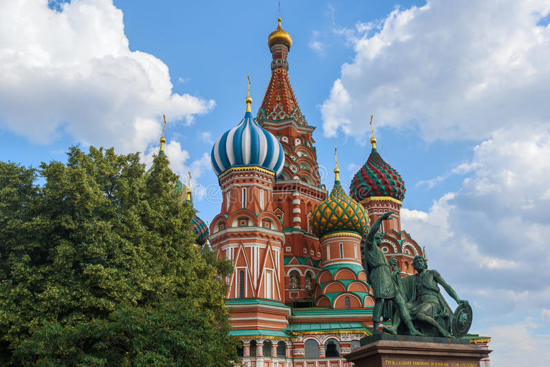 View of St. Basil`s Cathedral from Red Square in Moscow. Russia. Tourism stock photo