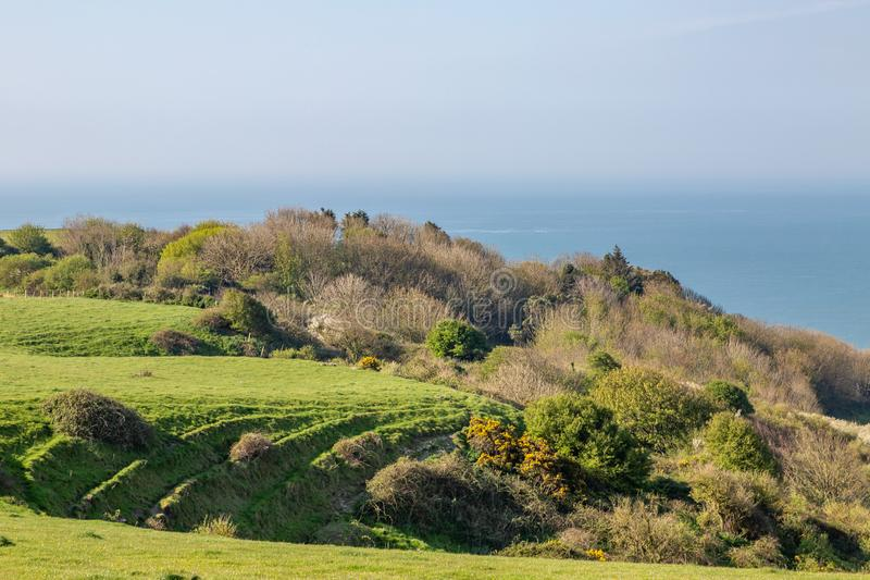 A View from St Catherine`s Down on the Isle of Wight. Looking out to sea from St Catherine`s Down on the Isle of Wight, on a sunny spring morning royalty free stock photos