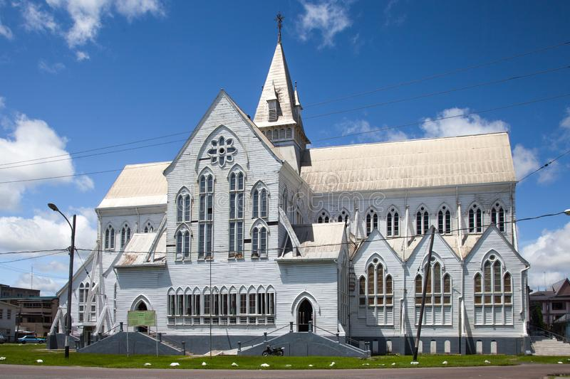 View of St. George`s Cathedral. The wooden church reaches a height of 43.5 metres 143 ft. It is the seat of the Bishop of Guyana royalty free stock image