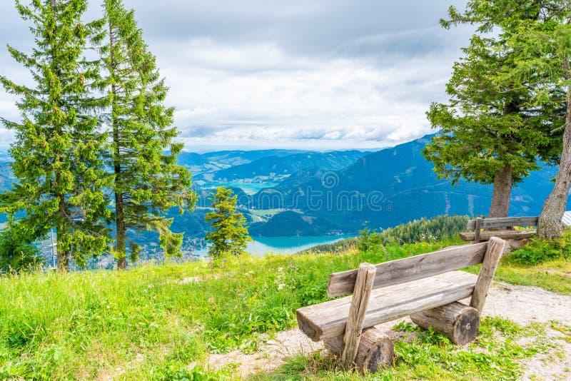 View of St.Gilgen village, Wolfgangsee lake and surrounding mountains from Zwolferhorn mountain. In Salzkammergut region, Austria stock image