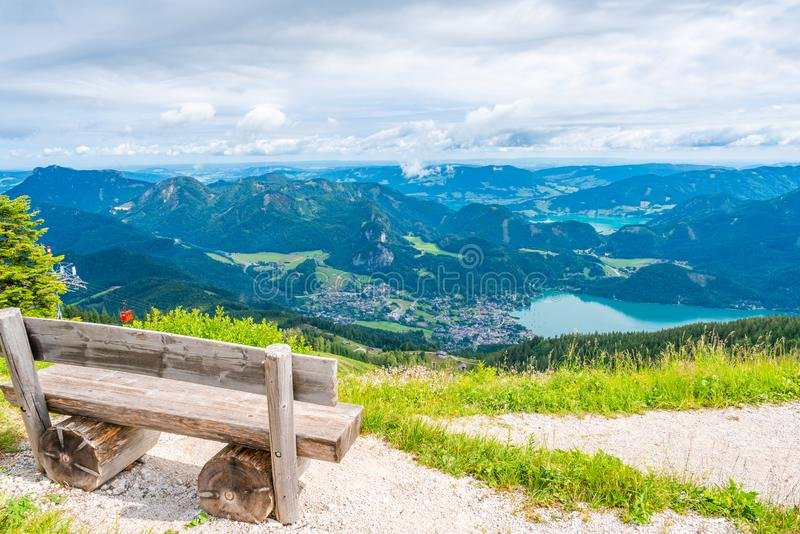 View of St.Gilgen village, Wolfgangsee lake and surrounding mountains from Zwolferhorn mountain. In Salzkammergut region, Austria royalty free stock photography