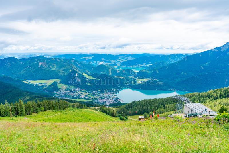 View of St.Gilgen village, Wolfgangsee lake and surrounding mountains from Zwolferhorn mountain. In Salzkammergut region, Austria stock photo