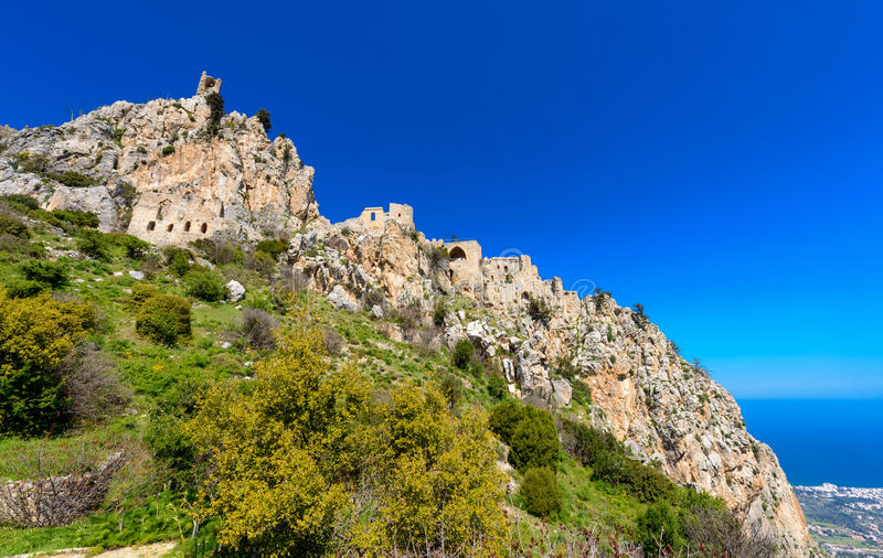 View of St. Hilarion castle near Kyrenia 6 stock photo