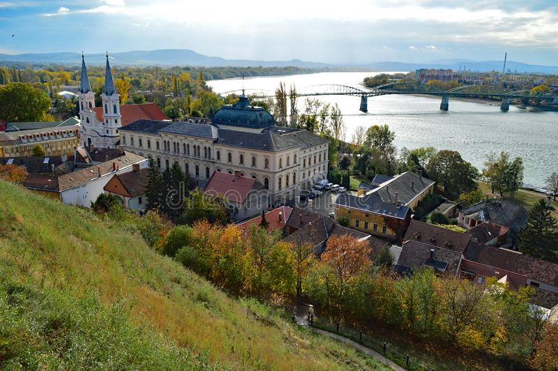 View of St Ignatius Church and Danube from The Esztergom Basilica, Esztergom, Hungary stock images