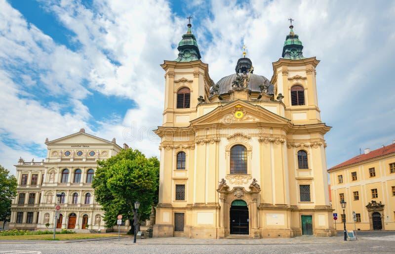 St John Baptist Church in old town Kromeriz in Moravia. Czech Republic stock photo
