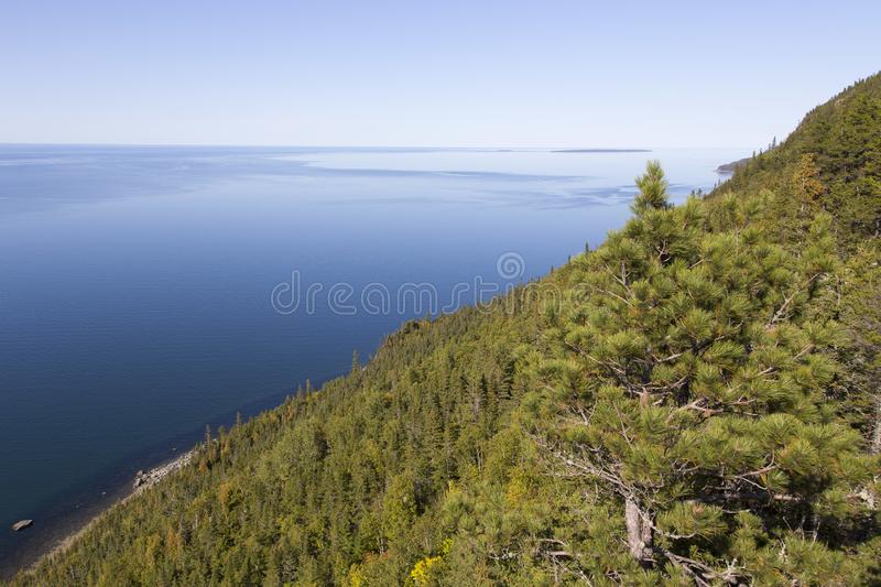 View of the St. Lawrence estuary from the Beaulieu Belvedere, St. Simon-de-Rimouski stock image