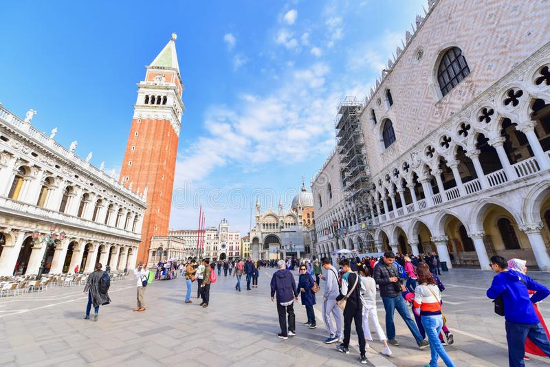 View of St. Mark`s Basilica or Basilica di San Marco. In Venice City, Italy stock image