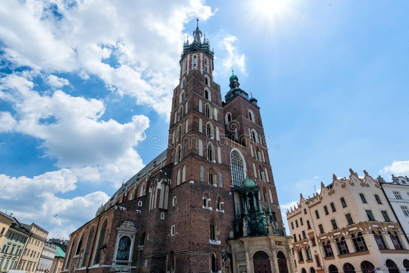 View at St. Mary`s Gothic Church. Krakow, Poland stock image