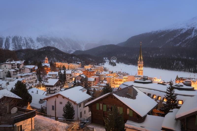 View of St Moritz in the Evening, Switzerland royalty free stock image