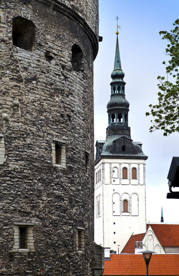 View on St. Nicholas' Church (Niguliste). Old city, Tallinn, Estonia stock photography