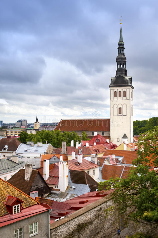 View on St. Nicholas' Church (Niguliste). Old city, Tallinn, Estonia royalty free stock images