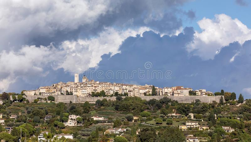 St Paul de Vence in France. View of St Paul de Vence in France set against blue cloudy sky royalty free stock photos