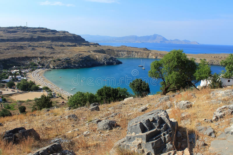 View of St Paul's Bay, Lindos. Rhodes, Greece royalty free stock photography