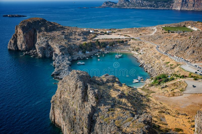 View of St. Paul´s bay, Lindos village and Mediterranean Sea fr royalty free stock image