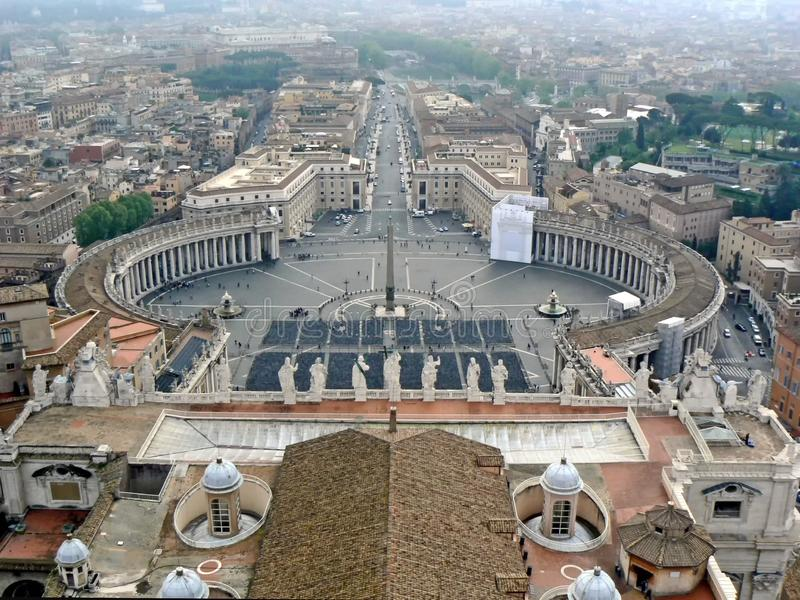 View of St. Peter`s Square from st. peter`s basilica, in Vatican.  stock image