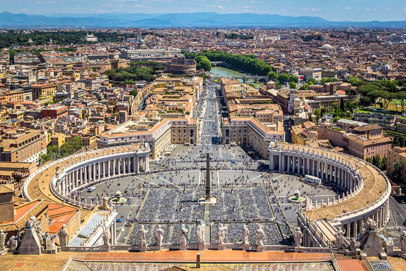 View of St. Peter`s Square from St. Peter`s Basilica, Vatican, Rome. Italy royalty free stock image
