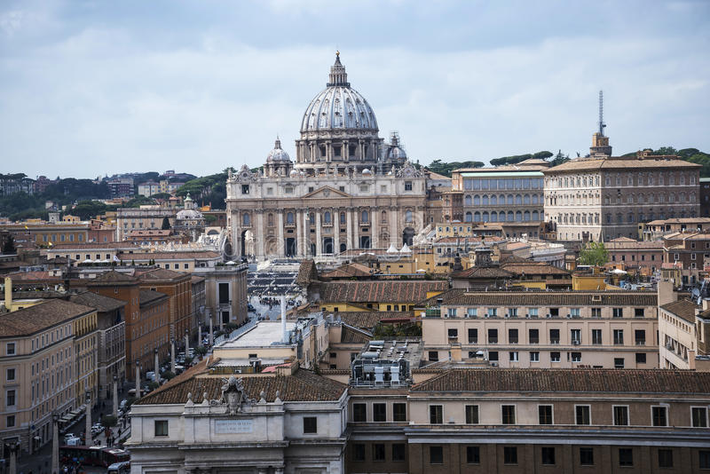 View of St Peters and Vatican City from the Castel Sant'Angelo by the River Tiber in Rome Italy stock photo