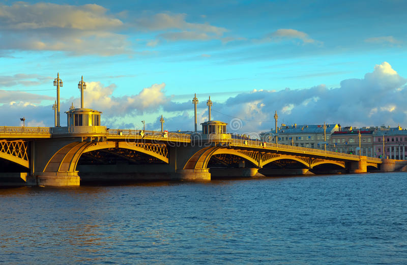View of St. Petersburg. Blagoveshchensky Bridge stock image