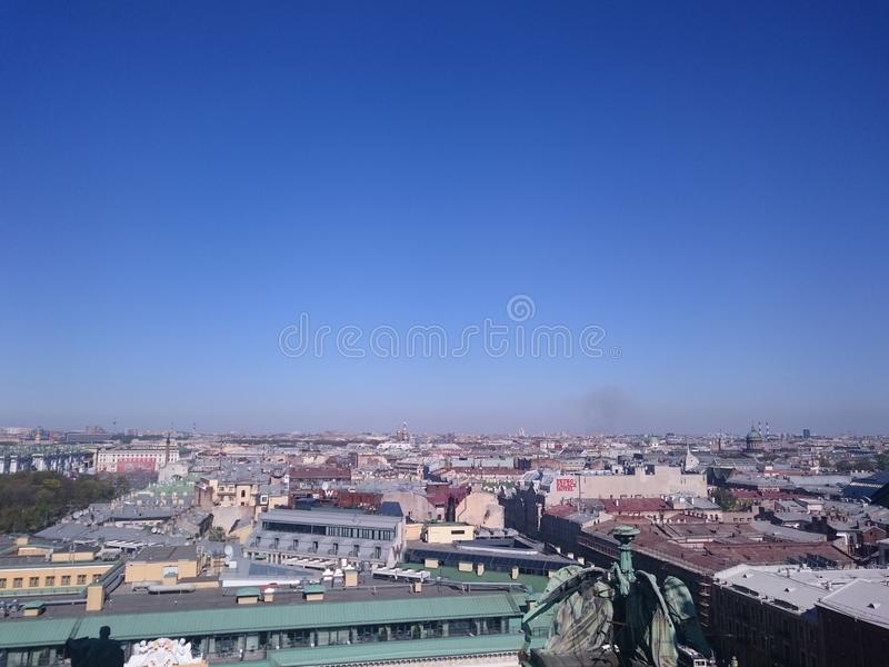 View on of St. Petersburg city from the colonnade of St. Isaac& x27;s. Russia royalty free stock image