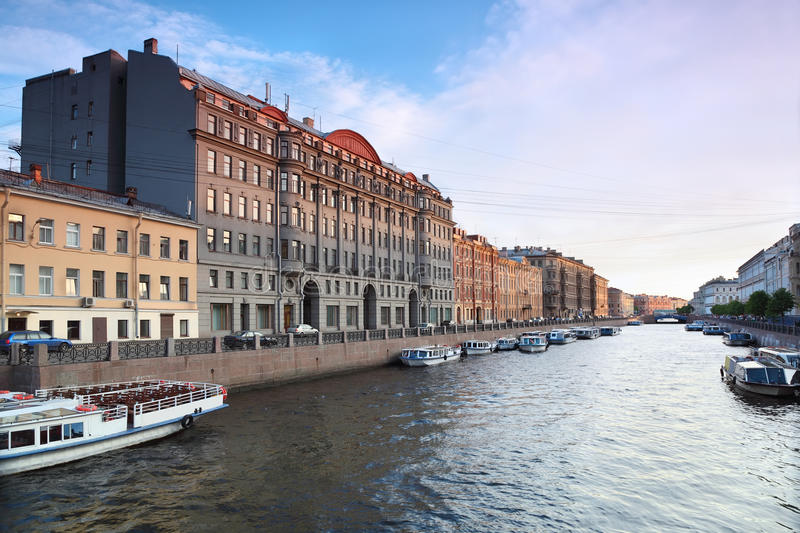 View of St. Petersburg. River channel with boats. In Saint-Petersburg stock photo