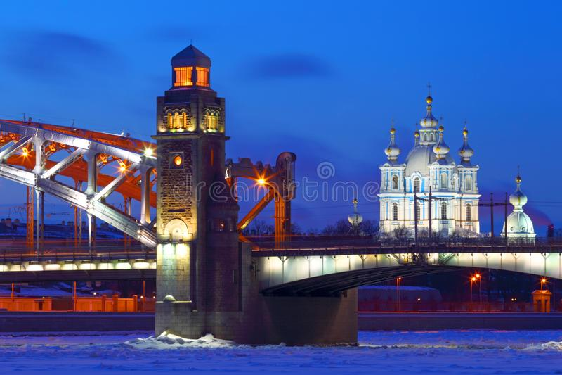 View Of St. Petersburg.Russia. Winter. Bolsheokhtinsky bridge stock photos