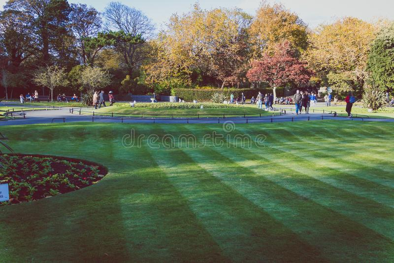 View of St Stephen`s Green park in Dublin city centre in early A royalty free stock photo