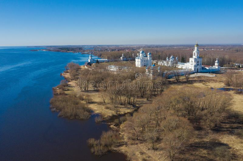 View of St. Yuriev Monastery temples aerial photography. Veliky Novgorod, Russia stock image