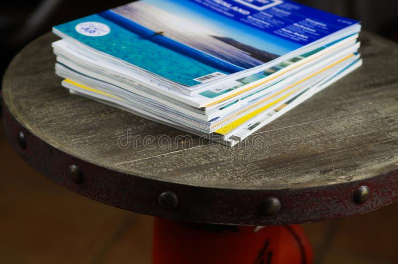 View on stack of travel journals stock photos