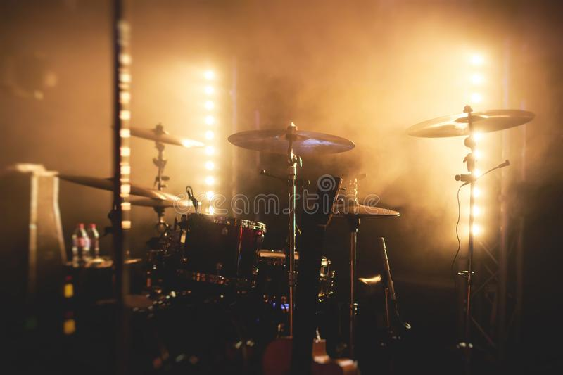 View of stage during rock-concert, with musical instruments and scene stage lights, rock show performance, before the performance,. With nobody on stage royalty free stock images
