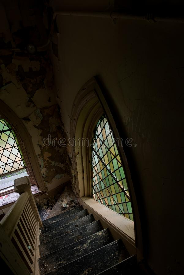 Stained Glass Windows - Derelict Chapel - Abandoned Cresson Prison / Sanatorium - Pennsylvania royalty free stock photo