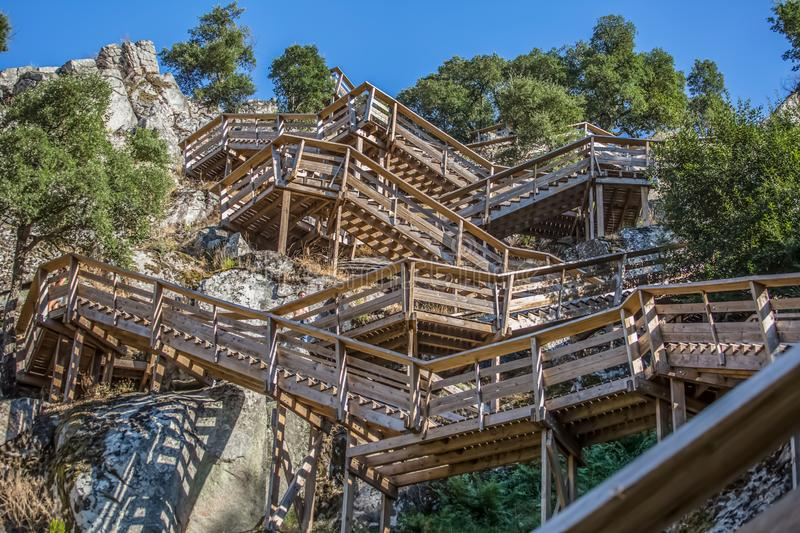 View of a stairs on wooden suspended pedestrian walkway on mountains, overlooking the Paiva river. In Arouca, Portugal royalty free stock photos