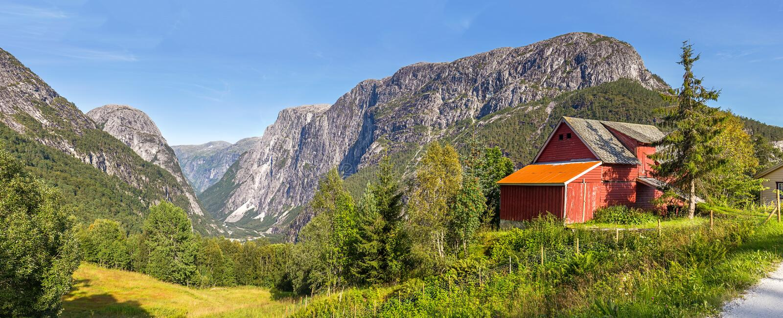 View of Stalheim with a red barn in the foreground, No royalty free stock images