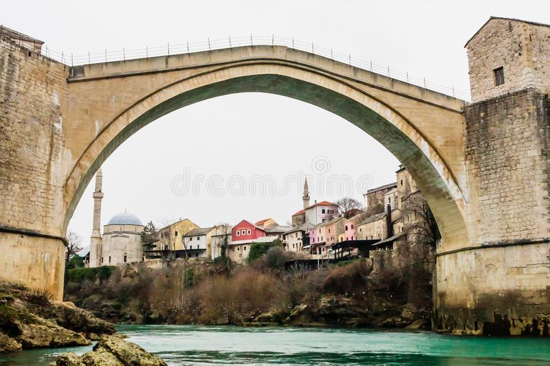 Stari Most a 16th-century Ottoman bridge over Neretva river in the city of Mostar in Bosnia Herzegovina. View of Stari Most a 16th-century Ottoman bridge over royalty free stock images