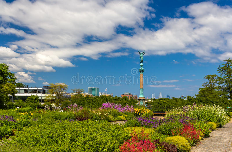 View of statue of Angel of Peace in Copenhagen royalty free stock photo