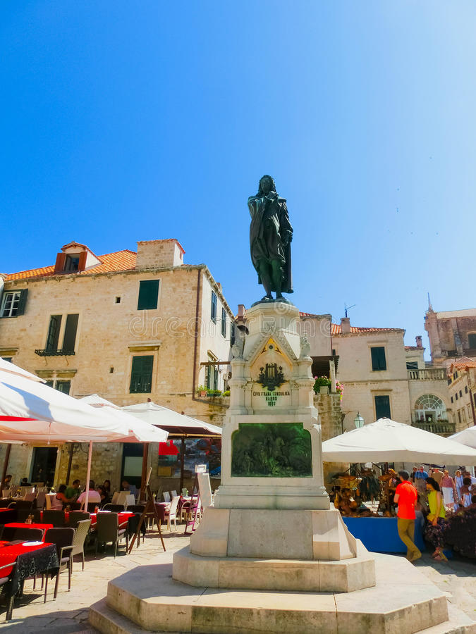 View statue in bronze of Ivan Gundulic at Dubrovnik royalty free stock photography