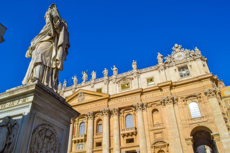 View of the Statue of Saint Paul The Apostle and St. Peter`s Bas stock images