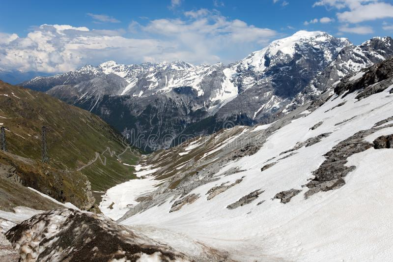 View from the Stelvio Pass, the highest automobile pass in Italy, 2758 metres , located between Trentino-Alto Adige and Lombardy,. Italy royalty free stock photography