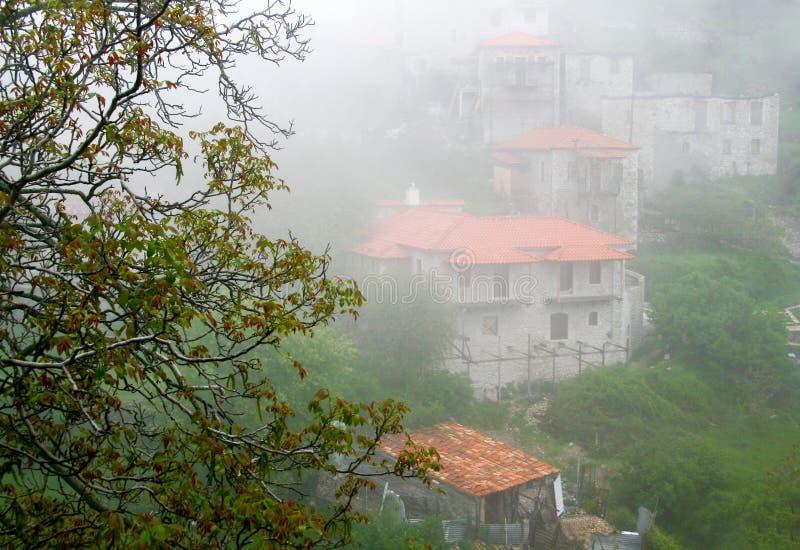 View of Stemnitsa village in fog stock photo