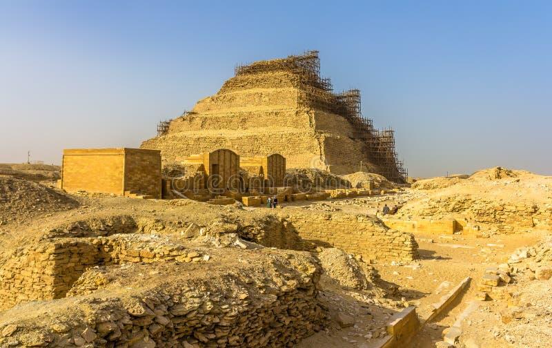 View of the Step Pyramid of Djoser at Saqqara. Egypt stock photos