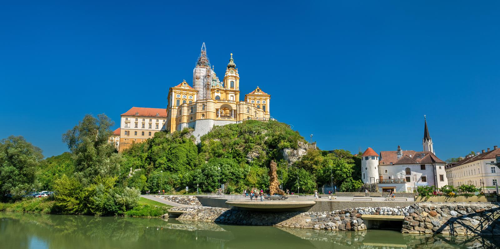 View of Stift Melk, a Benedictine abbey above the town of Melk in Austria royalty free stock photography