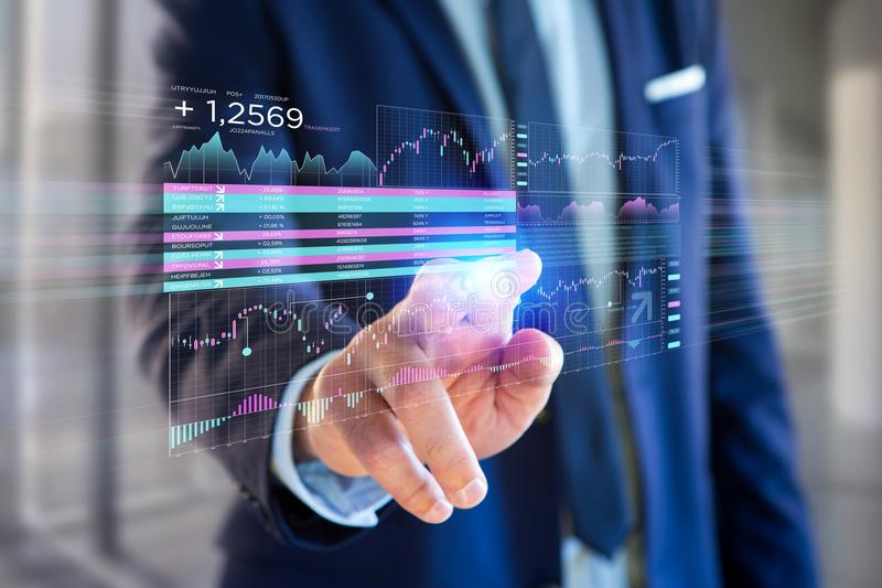 Stock exchange trading data information displayed on a futuristic interface stock photography