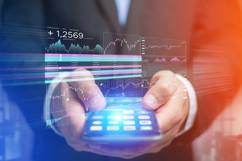 Stock exchange trading data information displayed on a futuristi. View of a Stock exchange trading data information displayed on a futuristic interface stock photos