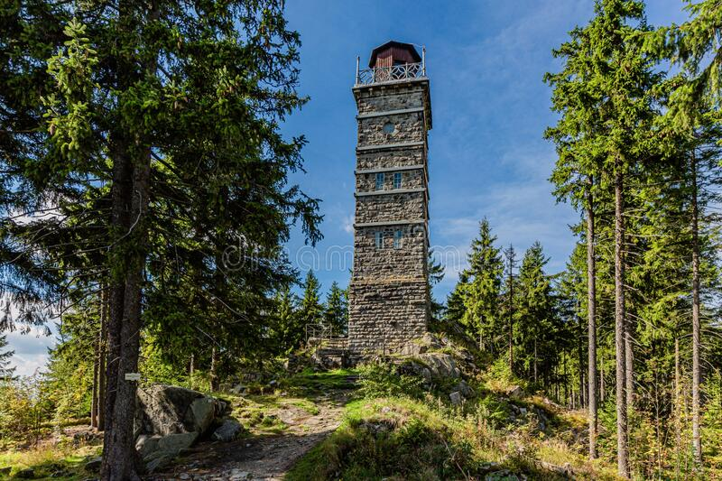 View of a stone lookout tower Pajndl stock images